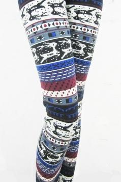 Blue Geometric Pattern and Deer Christmas Leggings