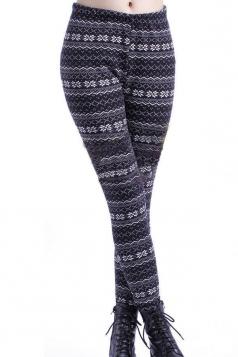 Beige Snowflake Pattern Christmas Leggings