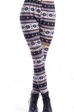 Coffee Brown Snowflake Pattern Christmas Leggings