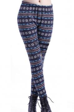 Blue Snowflake and Hearts Pattern Christmas Leggings