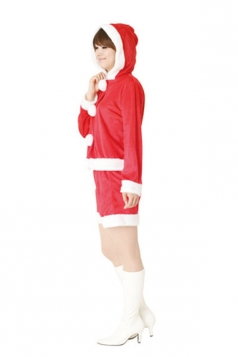 Cute Hooded Red Mrs Santa Claus Costume Suit