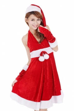 Ball Belt Halter Red Sexy Mrs Santa Claus Costume