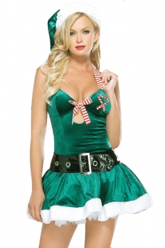 Sexy Green Low Cut Christmas Tree Costume