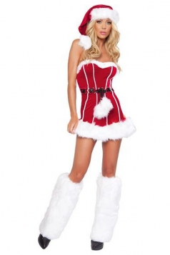 Sexy Red Fur Christmas Party Outfit Mrs Santa Costume With Belt