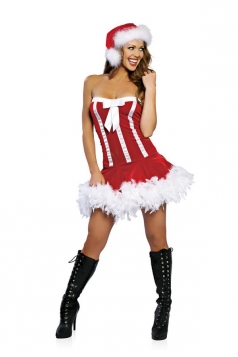 Bow Bubble Red Sexy Womens Santa Costume