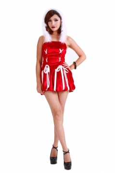 Hooded Cross Bubble Butterfly Santa Costume Womens Christmas Costume