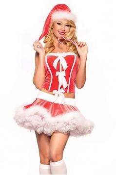 Sexy Red Furry Skirt Miss Santa Costume Women Christmas Costume