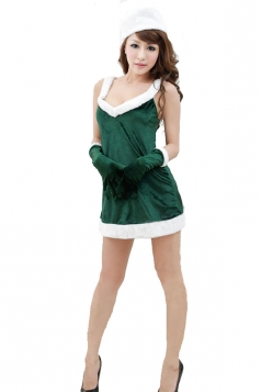Sexy V Neck Off Shoulder Green Santa Helper Costume