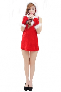Feather Neck Hooded Red Sexy Mrs Santa Claus Costume