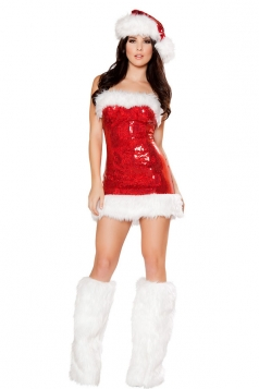 Tube Sequin Mini Dress Red Sexy Mrs Santa Claus Costume