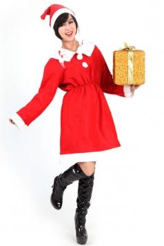 Cute Girl Red Santa Cape Costume Miss Christmas Coat Costume