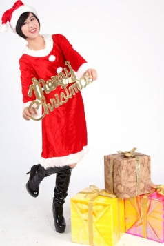 Long Belted Button Red Sexy Mrs Santa Claus Costume