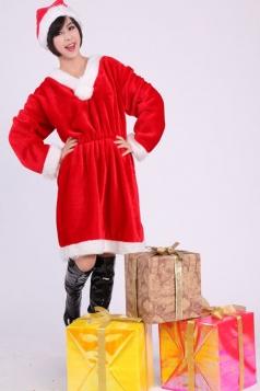 Plus Size Pleated Red Miss Santa Costume Women Christmas Costume