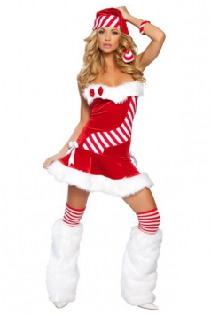 Sexy Candy Cane Tube Strapless Christmas Costume
