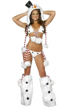 Sexy White Womens Christmas Snowman Lingerie Costume