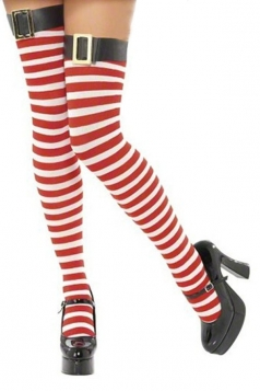 Sexy red striped Christmas Stockings with leather belt