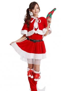 Cute wraped Miss Santa Clause Costume Girl Christmas Costume