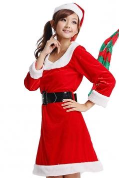 Fur O Neck Christmas Dress