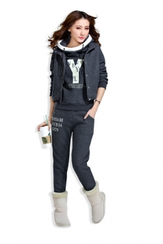 English Letter Hoodie Three Pieces Suit