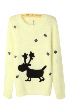 Cute Yellow Winter Reindeer Womens Christmas Pullover Sweater