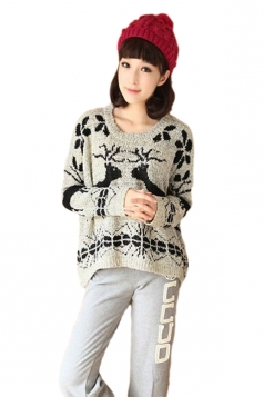 Grey Round Collar Oversized Women Christmas Reindeer Pullover Sweater