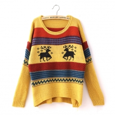 Women Tacky Yellow Striped Reindeer Christmas Jumper Sweater