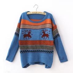 Blue Striped Tacky Reindeer Womens Christmas Jumper Sweater