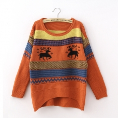 Womens Orange Tacky Reindeer Xmas Christmas Pullover Sweater