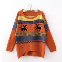 Womens Orange Tacky Reindeer Xmas Christmas Pullover Sweater