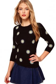 Round Neck Half Sleeve Daisy Black Sweater