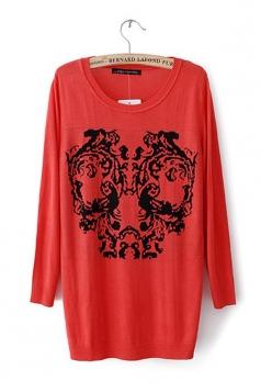 Skull Half Sleeve Red Sweater