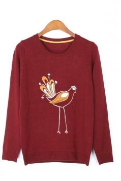 Bird Print Long Sleeves Sweater