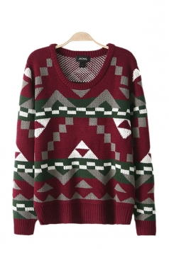 Long Sleeves O Neck Fair Isle Red Sweater
