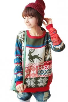Womens Red Funny Round Collar Christmas Jumper Knitted Sweater