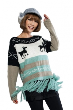 Blue White Reindeer Snow Pattern Fringe Christmas Pullover Sweater