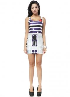 White Sleeveless Purple Mysterious Pattern Print Mini Dress