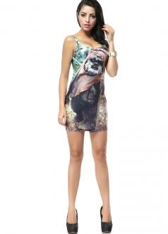 Cute Animal Print Mini Sleeveless Dress