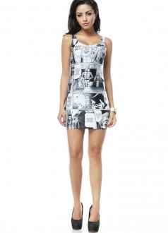 Funny Cartoon Print Mini Sleeveless Dress