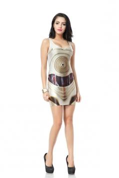Coffee Circles Print Mini Dress