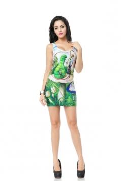 Green Caterpillar Print Mini Dress