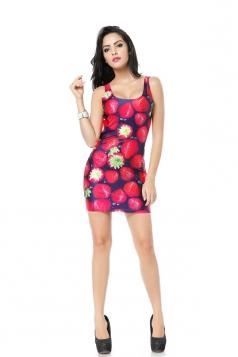 Red Strawberry Print Mini Dress