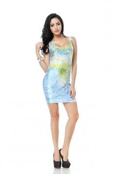 Blue World Map Print Mini Dress