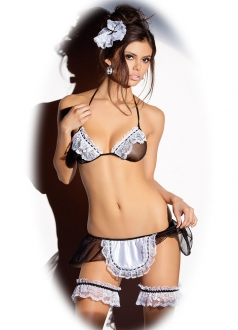 Womens Sexy Black Lace Maid Lingerie Costume
