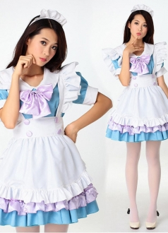 Cute Blue Ruffle Trim Maid Cosplay Costume