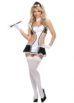 Sexy Lingerie Bedroom Fantasy French Maid Costume Dress Babydoll Set