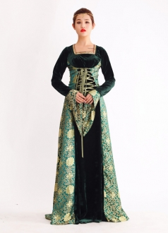 Royal Long Sleeve Lace-up Floral Print Evil Queen Costume