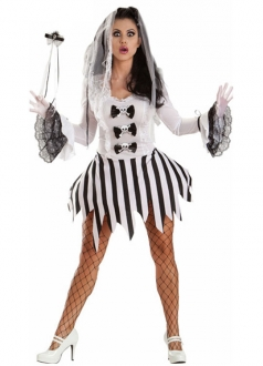 Fancy Long Sleeve Stripe Ghost Halloween Bride Costume