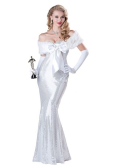 Womens Fancy Hollywood Movie Star Marilyn Monroe Costume White