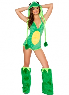 Womens Green Frog Halloween Costume