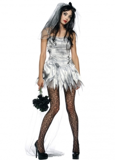 White Lacy Zombie Bride Halloween Costume